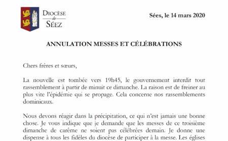ANNULATION MESSES ET CÉLÉBRATIONS
