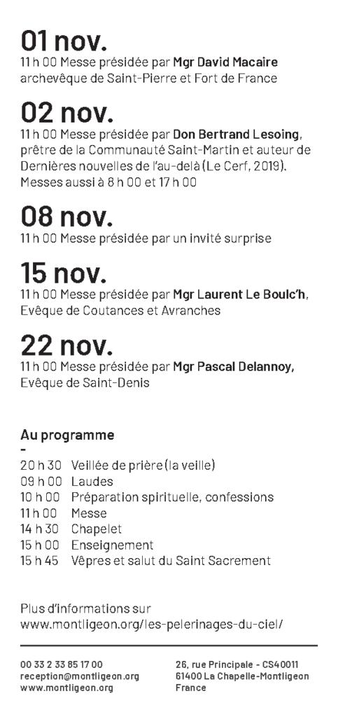 Flyers - Les Pèlerinages du Ciel à Notre-Dame de Montligeon