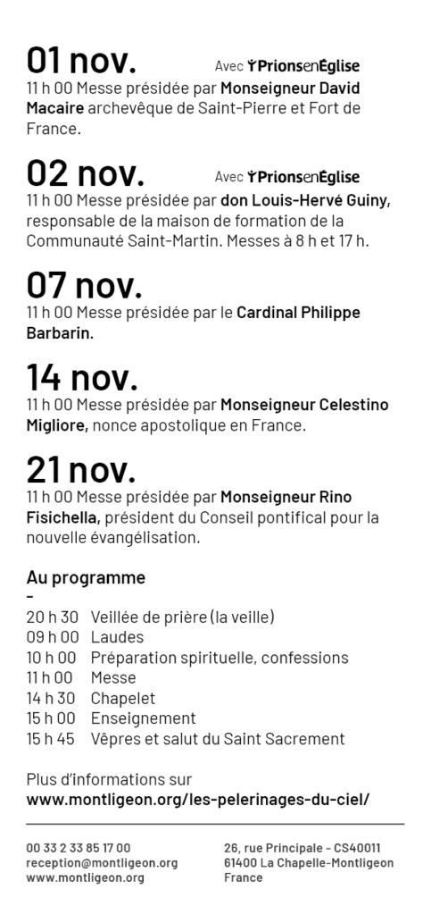 Les Pèlerinages du Ciel 2021 : 1er, 2, 7, 14 et 21 novembre 2021