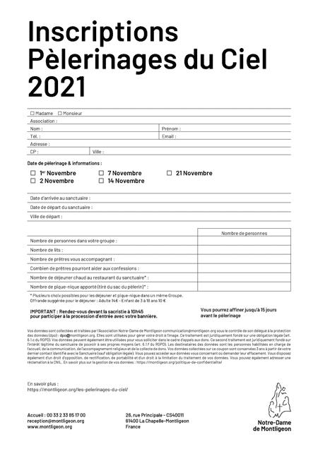 Inscriptions groupées Pèlerinages du Ciel 2021
